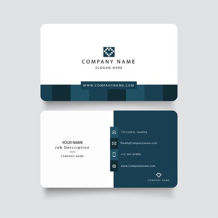 Illustration pour Modern blue business card with abstract shapes vector. Square - image libre de droit