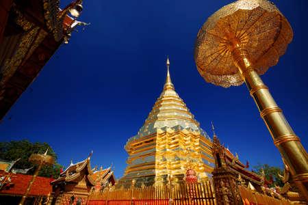 Chiang mai Wat Phrathat Doi Suthep, golden umbrella, Chatthong, Stupa Pagoda (Golden Chedi).