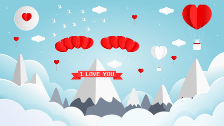 Illustration for Paper art style vector illustration graphic design sweet valentines card of heart shape white and red balloon on the sky. - Royalty Free Image