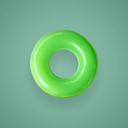 Foto de Green color swim rings isolated on beautiful pastel color background, with clipping path. - Imagen libre de derechos