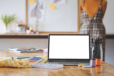 Photo pour Workspace desk and laptop. copy space and blank screen. Business image, Blank screen laptop and supplies. - image libre de droit