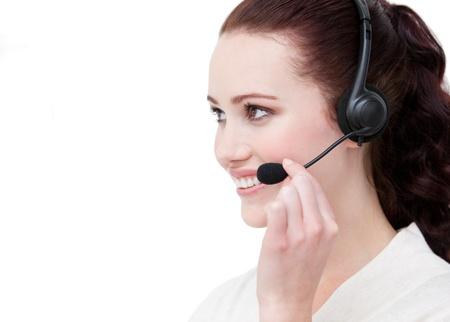 Sexy customer service representative using headset