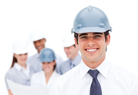 Photo for Focus on a male architect wearing a hardhat - Royalty Free Image