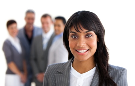 Focus on an ethnic young manager