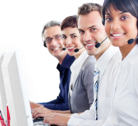 Multi-ethnic customer service representatives with headset on