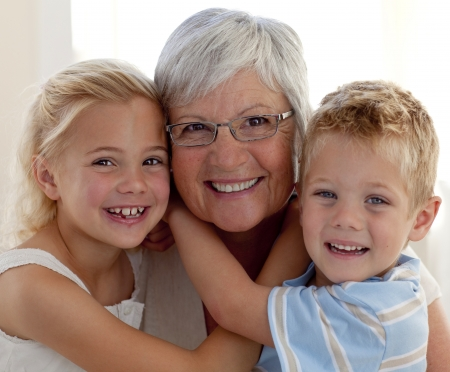 Portrait of grandmother and grandchildren