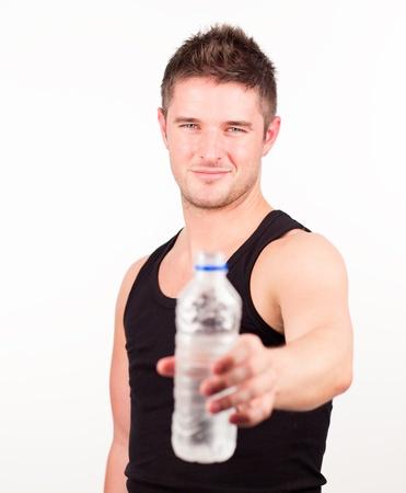 Happy Sportsman holding water bottle