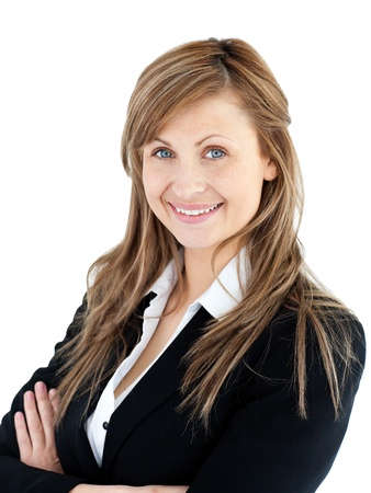 Confident young businesswoman looking at the camera against a white background