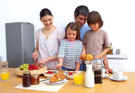 Cheerful family having a breakfast