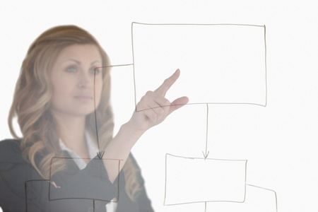 Young blond-haired woman thinking about a diagram in front of the camera