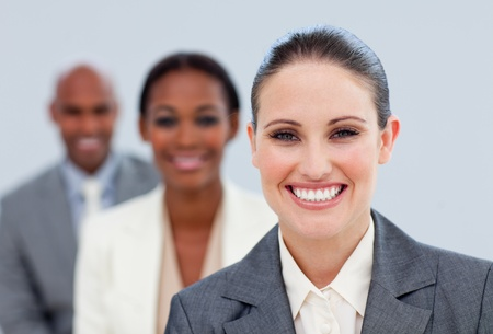Close-up of an attractive manager and her team