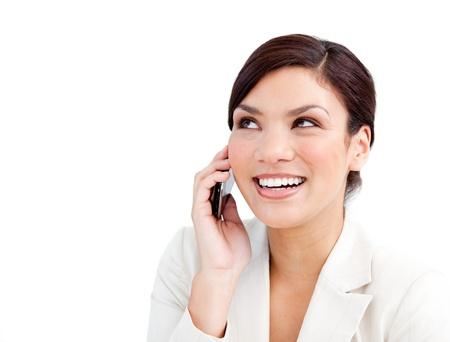 Confident businesswoman talking on phone