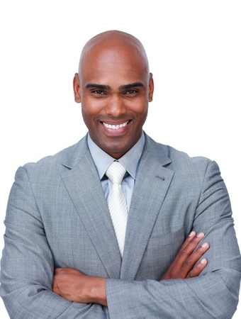 Confident afro-american businessman with folded arms