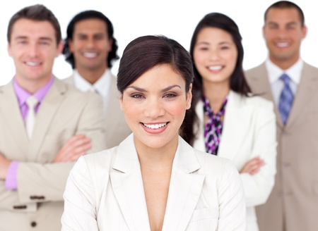 Photo pour Smiling business team lining up with headset on - image libre de droit