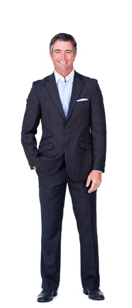 Caucasian businessman standing looking at the camera