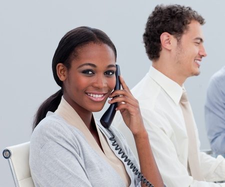 Young ethnic woman on phone