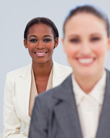Portrait of two smiling businesswomen