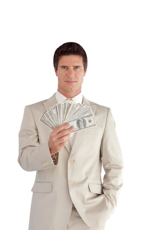 Charismatic Businessman with Dollars on his hands