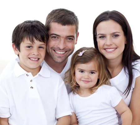 Foto de Portrait of happy family smiling - Imagen libre de derechos