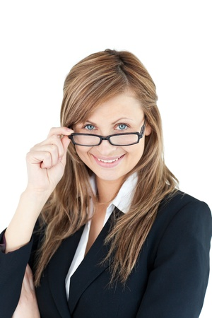 Portrait of a self-assured businesswoman wearing glasses