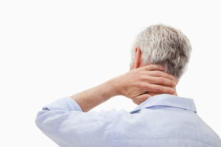 Man having a neck pain against a white background