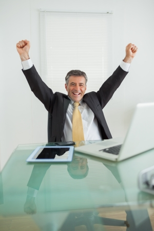 Business man enjoying his success and cheering in his office