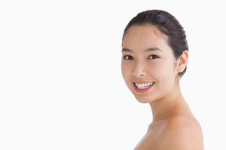 Smiling woman showing her natural beauty