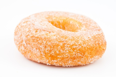 Close up of a doughnut against a white background