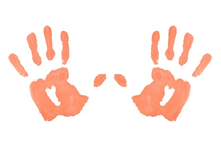 Two red symmetric handprints against a white background