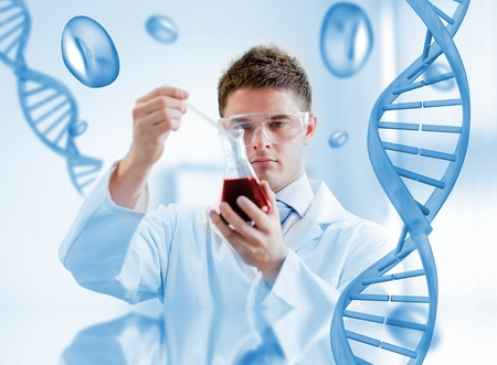Serious chemist testing blood in a beaker with dna background