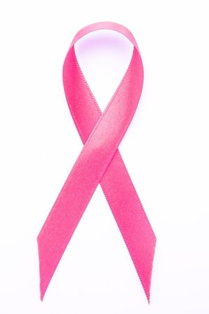 Pink awareness ribbon on white background