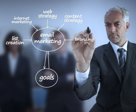 Elegant businessman writing marketing terms in front of a business team