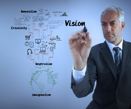 Elegant businessman writing the word vision with a marker against blue background