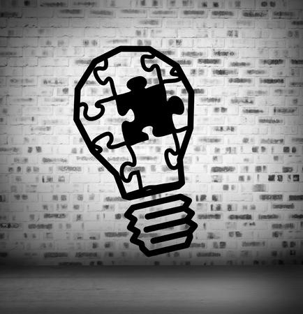 Light bulb puzzle at brick lined wall