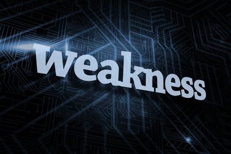 The word weakness against futuristic black and blue background