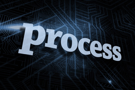 The word process against futuristic black and blue background