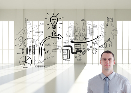 Composite image of architect carrying construction plan and helm in his office