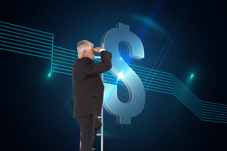Composite image of mature businessman standing on ladder watching