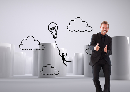 Composite image of happy businessman with thumbs up in a meeting