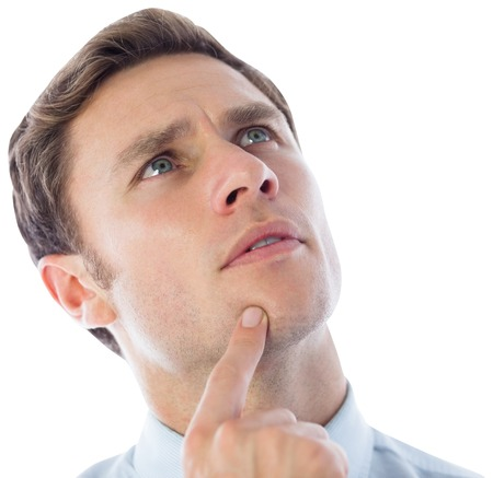 Thinking businessman with finger on chin on white background