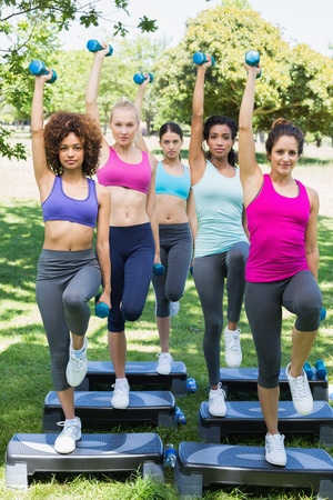 Full length portrait of determined women doing step aerobics with dumbbells in park