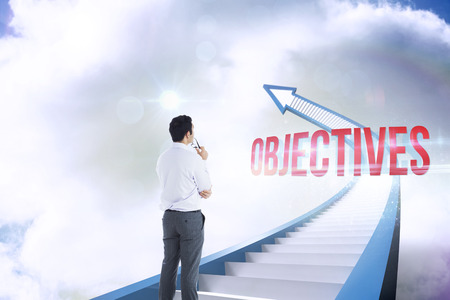 The word objectives and businessman holding glasses against red staircase arrow pointing up against sky