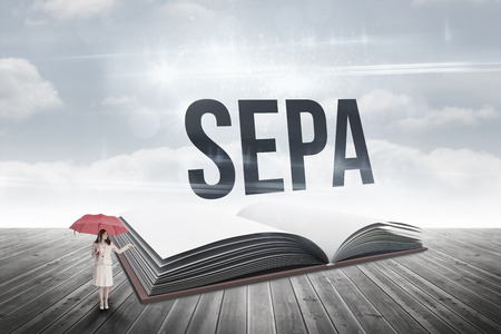 The word sepa and attractive businesswoman holding red umbrella against open book against sky