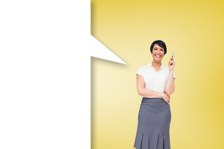 Thoughtful Businesswoman With Blank Yellow Sticky Note On
