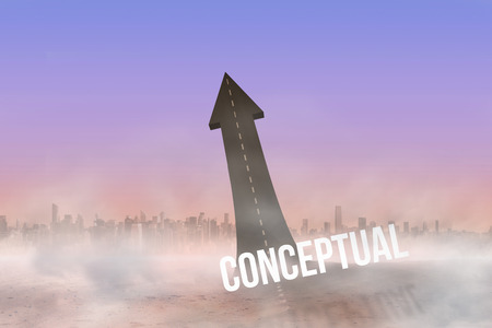 The word conceptual against road turning into arrow