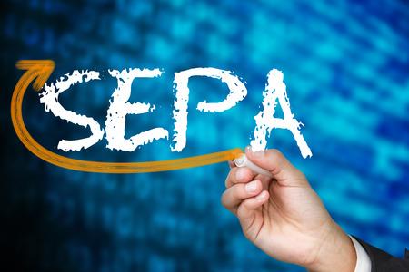 Businessman writing the word sepa against shiny blue binary code on black background