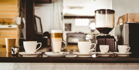 Photo pour Selection of coffee on the counter at the coffee shop - image libre de droit