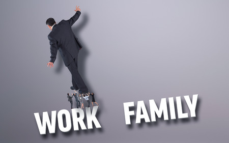 Business people supporting boss against grey background with text