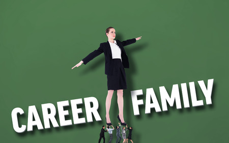 Business people supporting boss against green background with text