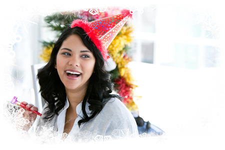 Composite image of positive businesswoman celebrating christmas against frost frame